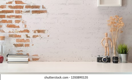 Stylish workspace creative mock up and copy space