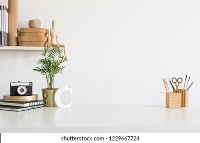 Stylish workspace with office supplies, and copy space.