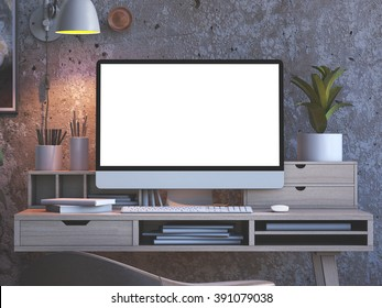 Stylish workspace withcomputer on studio or home loft