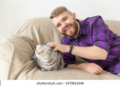 Stylish young bearded man hipster stroking his beautiful gray scottish fold cat sitting on the couch. Animal care concept.