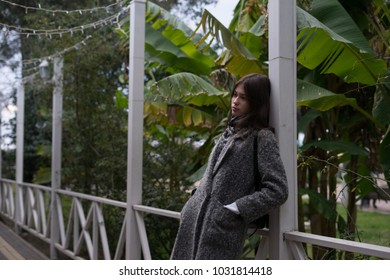 stylish young girl in gray coat posing against the background of green trees