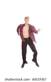 stylish and young handsome modern style dancer posing