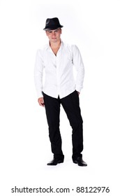 stylish young man standing over white background