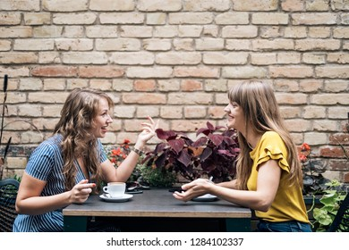 Stylish young women having friendly meeting with cups of coffee while sitting at table and chatting