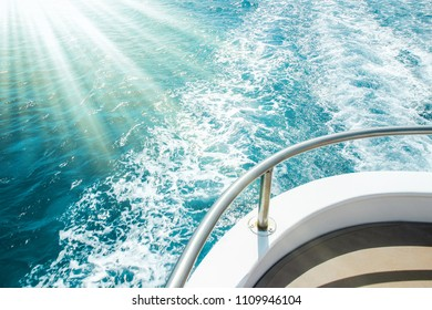 Stylishly beautiful ship yacht in the sea background