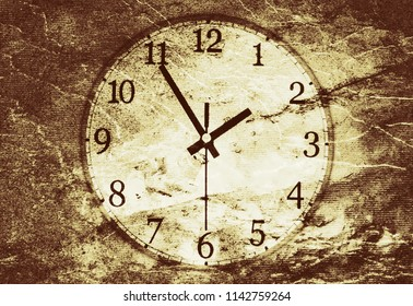 Stylized analog clock showing the time on rough brown background