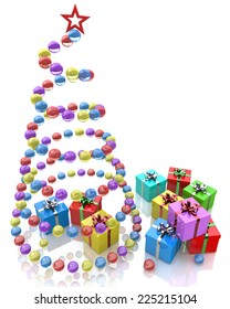 Stylized balls Christmas tree with red star and gifts