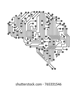 Stylized Brain. Circuit Board Texture, Electricity Mind