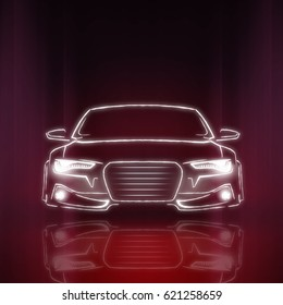 Stylized car image on a mirror background