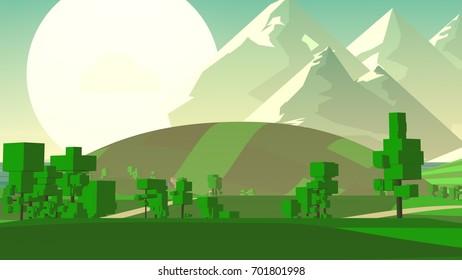 Stylized Cartoon Countryside.