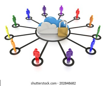 A Stylized CG still render, depicting a set of clouds and a padlock, to indicate secure data storage for users in their internet cloud solutions.