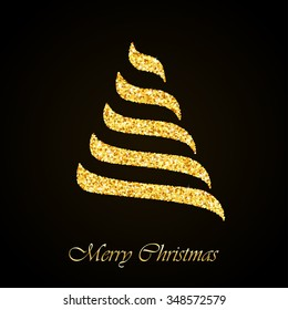 Stylized Christmas tree gold glitter greeting card background