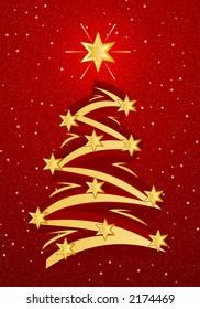 Stylized christmas tree illustation - Gold on red snowfall background