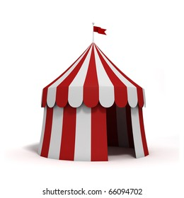 stylized circus tent, isolated on white background