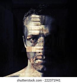 Stylized closeup portrait of grungy bad man, dark moody toned illustration