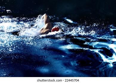 Stylized dark dramatic photo of a man swimming