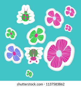 Stylized flowers, doodles, lady bugs, dotted lines, labels pattern. Hand drawn.