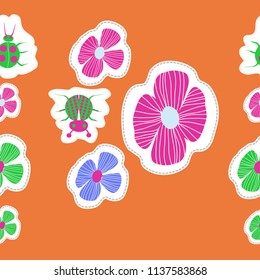 Stylized flowers, doodles, lady bugs, dotted lines, labels  seamless pattern. Hand drawn.