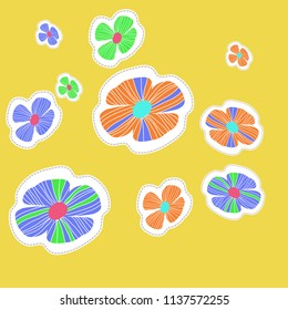Stylized flowers, doodles,dotted lines, labels pattern. Hand drawn.