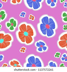 Stylized flowers, doodles,dotted lines, labels seamless  pattern. Hand drawn.