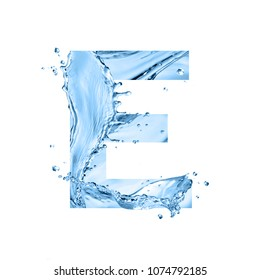 stylized font, art text made of water splashes, capital letter e, isolated on white background