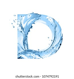stylized font, art text made of water splashes, capital letter d, isolated on white background