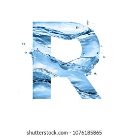 stylized font, art text made of water splashes, capital letter r, isolated on white background