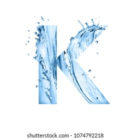 stylized font, text made of water splashes, capital letter k, isolated on white background