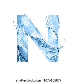 stylized font, text made of water splashes, capital letter n, isolated on white background