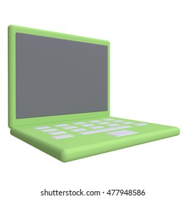 Stylized funny cartoon laptop. Children clay, plastic or soft toy. 3d illustration.