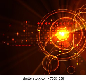 Stylized glowing background with digital symbols, raster illustration