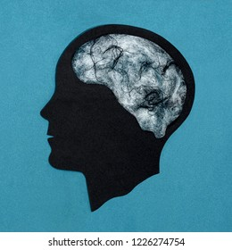 Stylized head silhouette. Web instead of brain. Symbol of gloom, depression. Concept of mental health and disease
