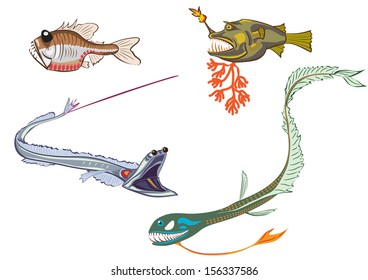 stylized illustrations of the deep-sea fishes