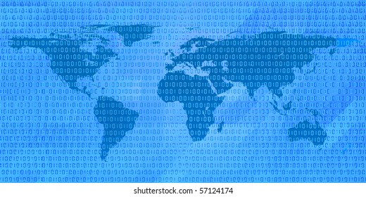 stylized image of binary code on the world map