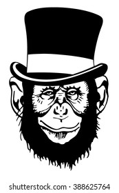 a stylized image of a monkey in a hat cylinder