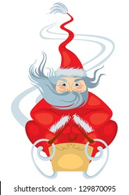 The stylized image of Santa Claus, riding in a sled from the mountain