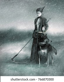 stylized image of a woman with a scythe and a dog in a snowstorm