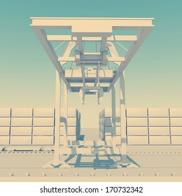 stylized industrial landscape of the commercial seaport