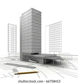 stylized modern building  with drawings, ruler and  pencil, isolated on white  background