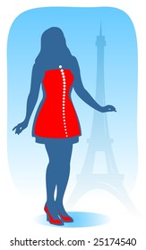 The stylized modern Parisian girl on a background of Tour d'Eiffel.