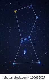 stylized orion constellation on a night sky