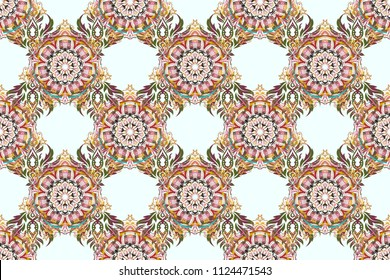 Stylized ornament on a white background. Raster glitter textured seamless pattern with yellow, pink and orange elements. Perfect for holidays.
