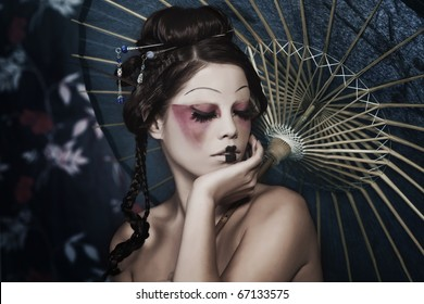 stylized picture of a Japanese geisha, make-up done by professional Polish artist