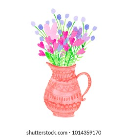 stylized pink flowers in a pitcher with ornament. watercolor illustration