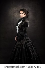 Stylized portrait of a victorian lady in black