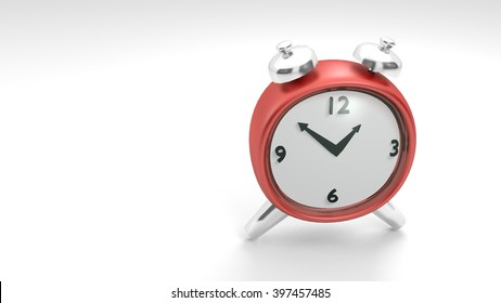 Stylized Retro Alarm Clock in a low-poly 3D illustration on a bright background