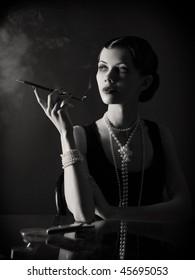 stylized retro portrait with cigarette
