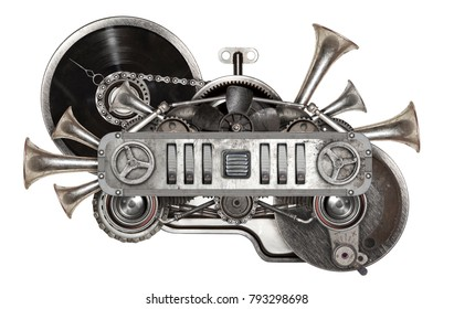 Stylized steampunk collage of vinyl record turntable