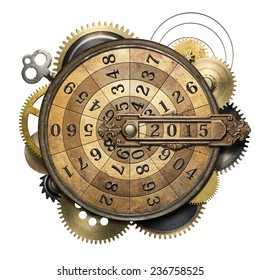Stylized steampunk metal collage of time counting device. New Year concept.