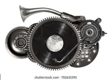 Stylized steampunk old auto spare parts car collage of vinyl record turntable